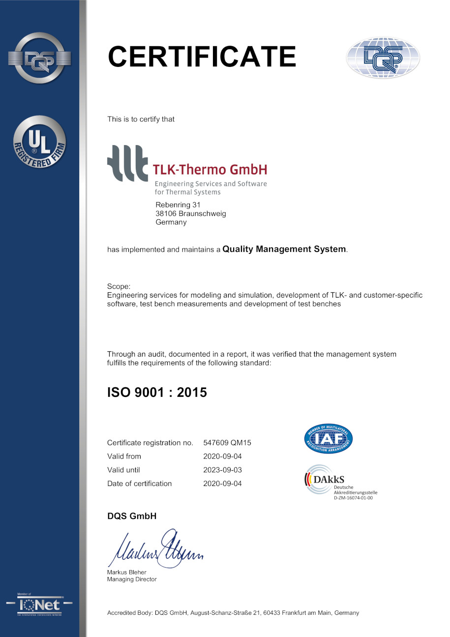 ISO 9001:2015 Certificate for TLK-Thermo