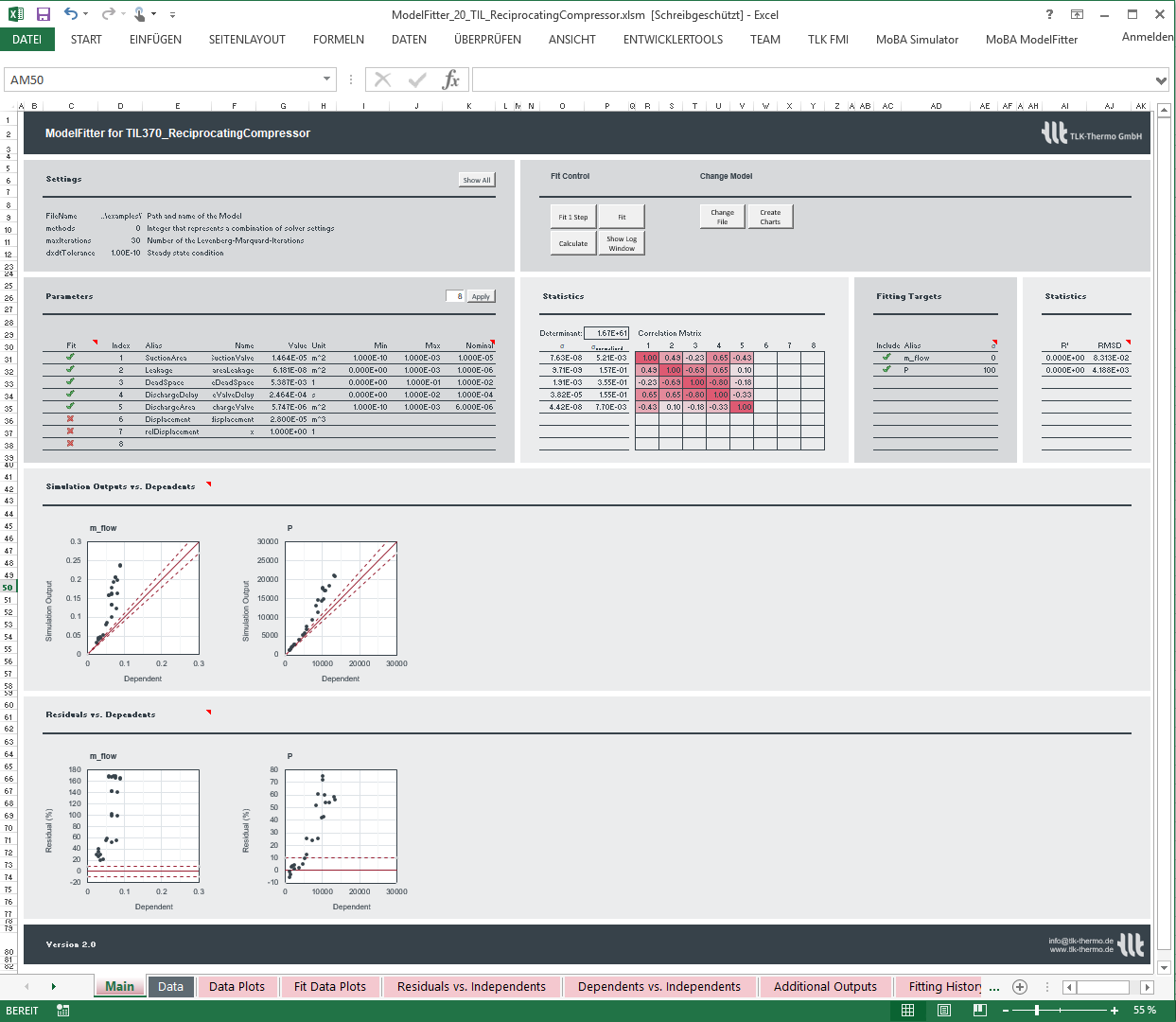 Excel interface of the ModelFitter